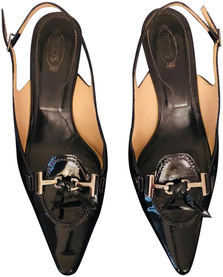 Tods Black Kitten Heel Pumps