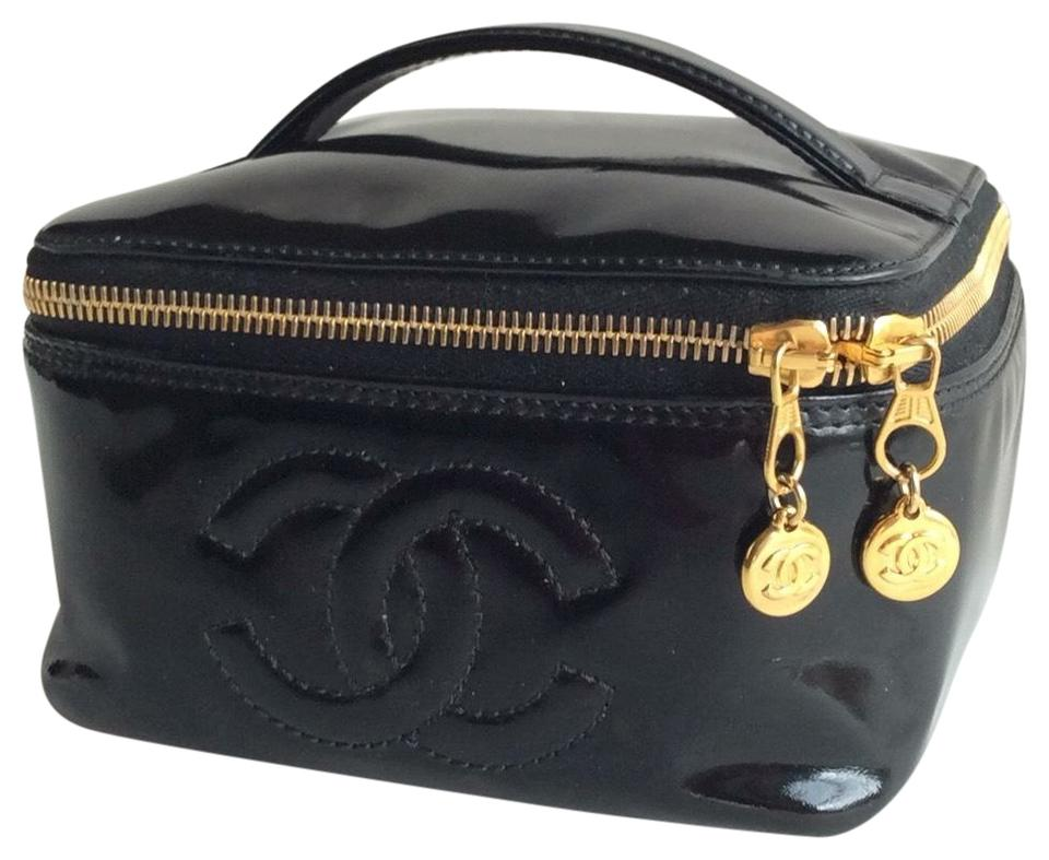 0a892aabc573 Chanel Black Small Patent Leather Cosmetic Bag - Tradesy