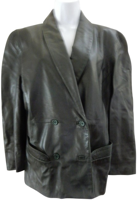 Item - Green Vintage Buttery Soft Leather Italian Made 44 Italy Blazer Size 8 (M)