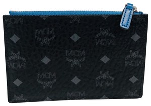 MCM Authentic MCM Color Visetos Key Pouch Black w/ Blue Missing Key Hook