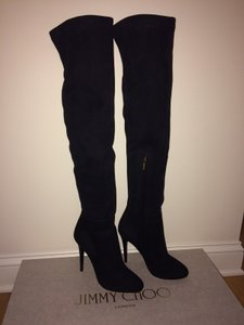 Jimmy Choo Over The Knee Stretch Fitted Suede Tall Black Boots