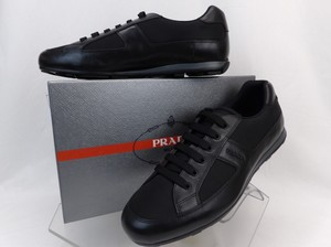 Prada Black Leather Nylon Lace Up Lettering Logo Sneakers 10.5 Us 11.5 Shoes