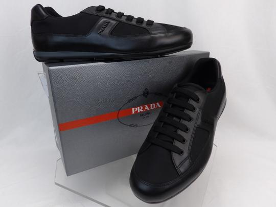 Prada Black Leather Nylon Lace Up Lettering Logo Sneakers 10.5 Us 11.5 Shoes Image 1