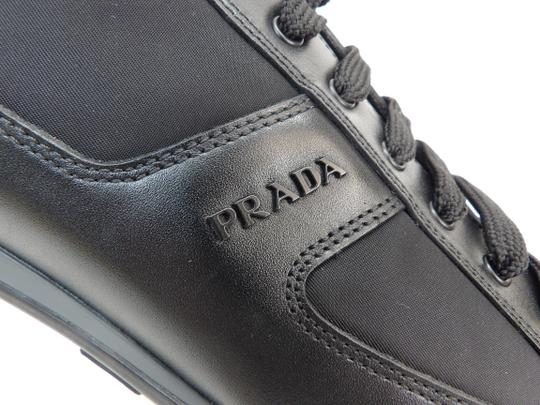 Prada Black Leather Nylon Lace Up Lettering Logo Sneakers 10.5 Us 11.5 Shoes Image 10