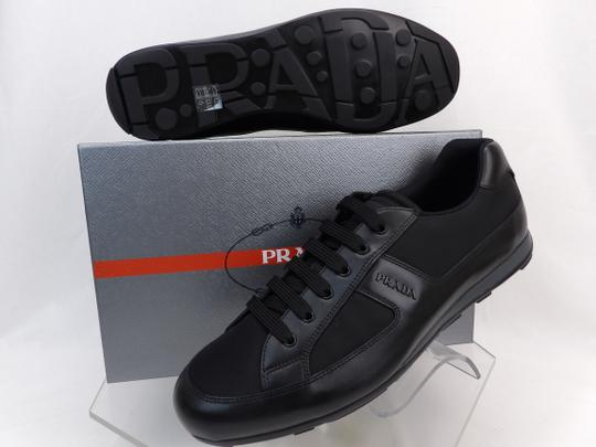 Prada Black Leather Nylon Lace Up Lettering Logo Sneakers 10.5 Us 11.5 Shoes Image 2