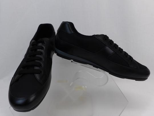 Prada Black Leather Nylon Lace Up Lettering Logo Sneakers 10.5 Us 11.5 Shoes Image 3