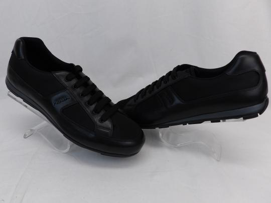 Prada Black Leather Nylon Lace Up Lettering Logo Sneakers 10.5 Us 11.5 Shoes Image 4