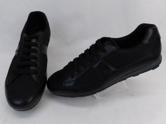 Prada Black Leather Nylon Lace Up Lettering Logo Sneakers 10.5 Us 11.5 Shoes Image 5