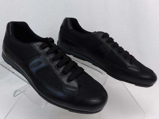 Prada Black Leather Nylon Lace Up Lettering Logo Sneakers 10.5 Us 11.5 Shoes Image 6