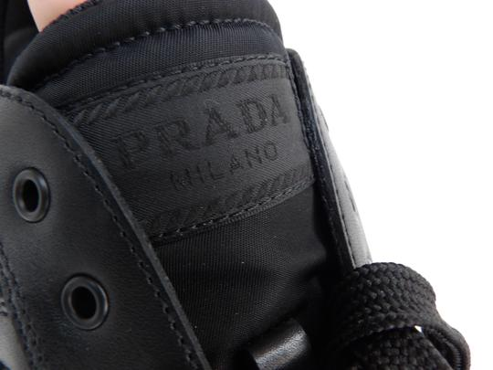 Prada Black Leather Nylon Lace Up Lettering Logo Sneakers 10.5 Us 11.5 Shoes Image 7