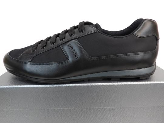 Prada Black Leather Nylon Lace Up Lettering Logo Sneakers 10.5 Us 11.5 Shoes Image 8