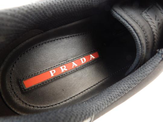 Prada Black Leather Nylon Lace Up Lettering Logo Sneakers 10.5 Us 11.5 Shoes Image 9