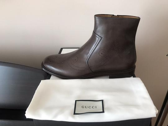 Gucci Mens Leather Zipper Brown Boots Image 1