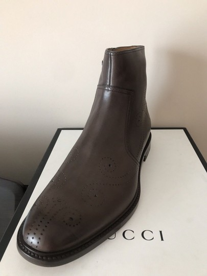 Gucci Mens Leather Zipper Brown Boots Image 2
