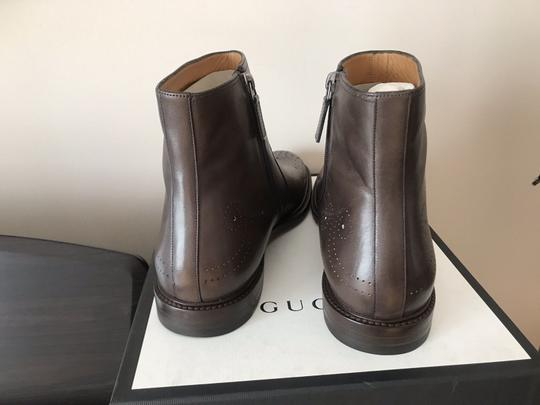Gucci Mens Leather Zipper Brown Boots Image 4