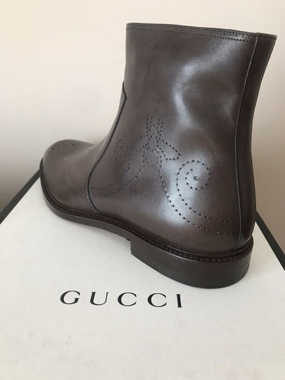 Gucci Mens Leather Zipper Brown Boots Image 5