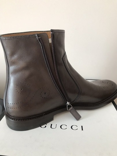 Gucci Mens Leather Zipper Brown Boots Image 7