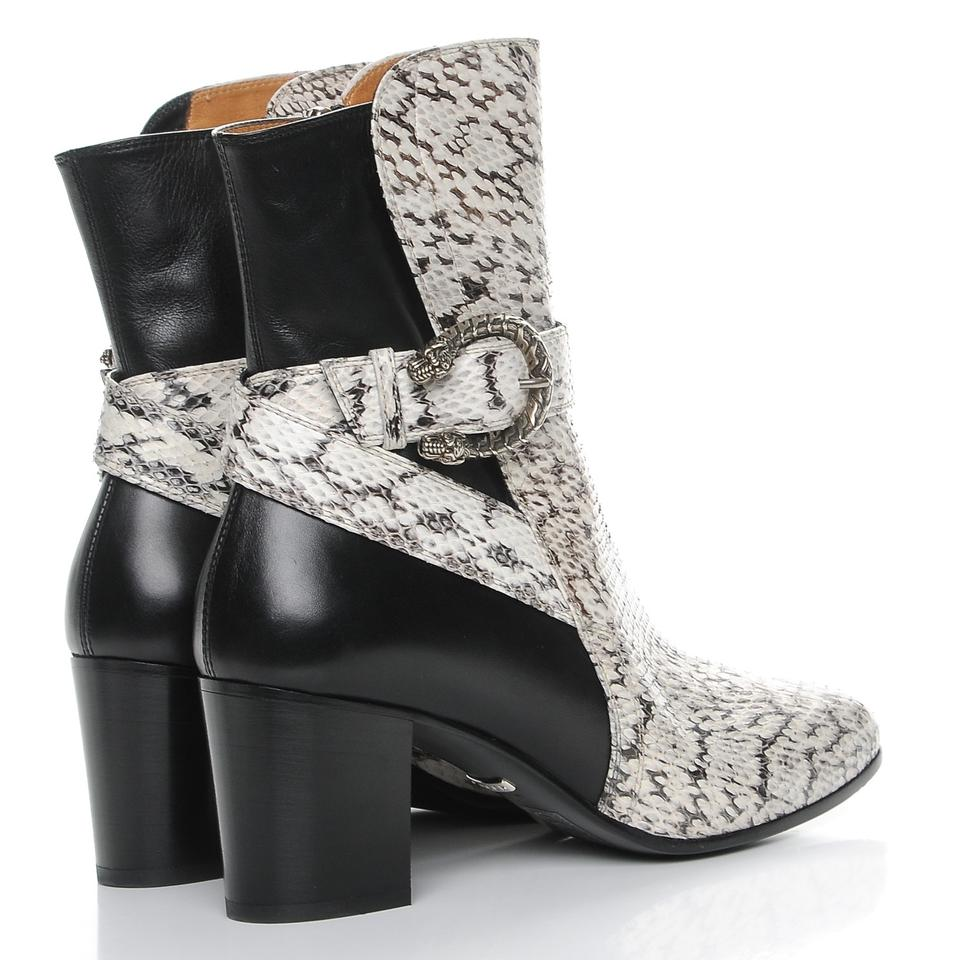 9db0dc06822 Gucci Black and White Elaphe Snakeskin Elizabeth Roccia Nero New Boots  Booties. Size  EU 39 ...