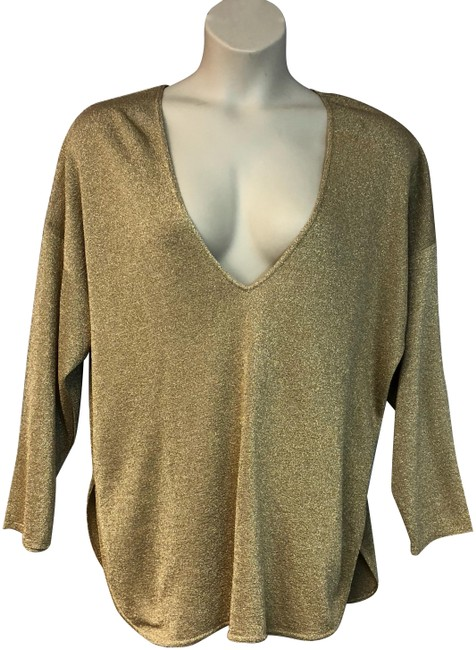 Item - Gold Made In Italy Knit Plus-size Xxl Blouse Size 16 (XL, Plus 0x)