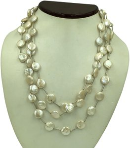 "IPS 925 Sterling Silver Mother of Pearl Long Necklace 59"" Long"