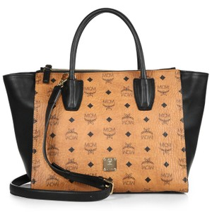 MCM Monogram Leather Tote in Brown, Black