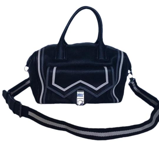 BCBGeneration Satchel in Black trimmed in gray and cream Image 0