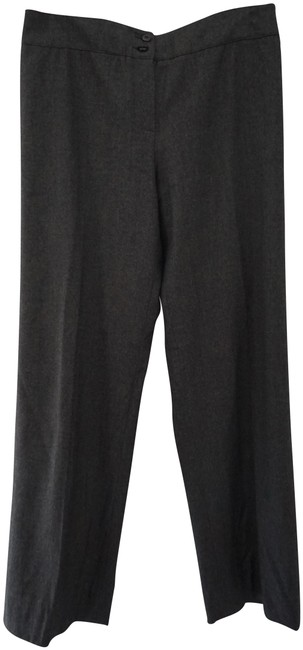 Armani Collezioni Wool Flat Front Winter Trouser Pants Gray Image 0