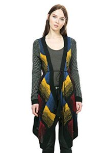 Desigual Cardigan Design Belt Multi-color Sweater