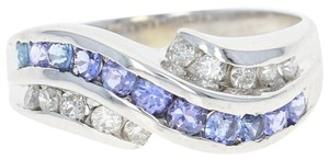 Other Tanzanite & Diamond Bypass Ring - 14k White Gold Round Brilliant N7899