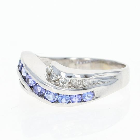 Other Tanzanite & Diamond Bypass Ring - 14k White Gold Round Brilliant N7899 Image 1