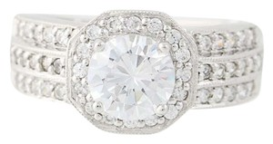 Other NEW Cubic Zirconia Halo Engagement Ring - 10k White Gold N8058