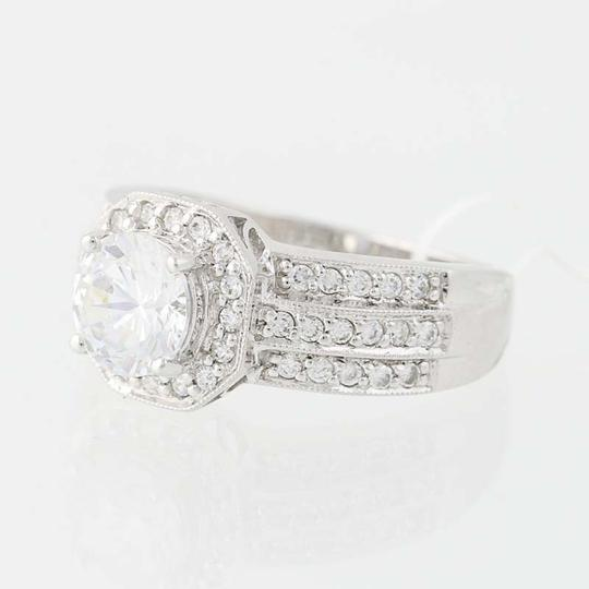Other NEW Cubic Zirconia Halo Engagement Ring - 10k White Gold N8058 Image 2