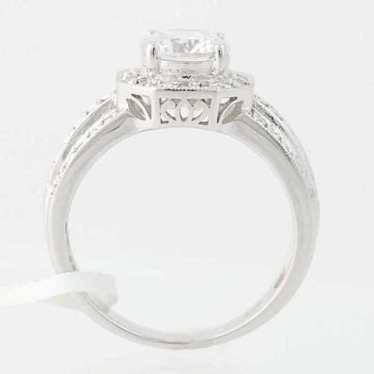 Other NEW Cubic Zirconia Halo Engagement Ring - 10k White Gold N8058 Image 3