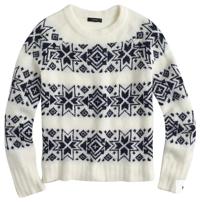 Preload https://img-static.tradesy.com/item/24373211/jcrew-fair-isle-striped-navy-and-white-sweater-0-2-650-650.jpg