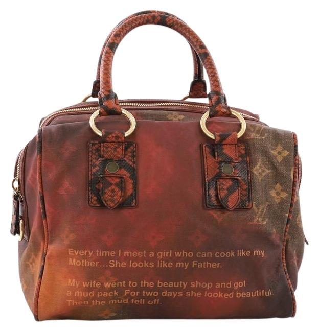 Item - Mancrazy Jokes Handbag Monogram and Snakeskin Red Orange Canvas Satchel