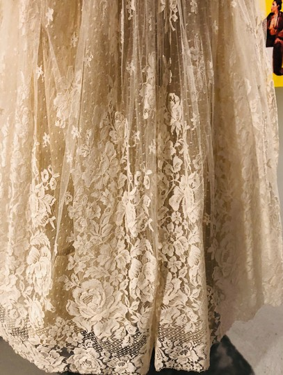 Ivory Tulle Lace Chantilly Gown Feminine Wedding Dress Size 8 (M) Image 10