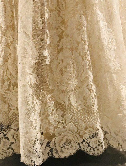 Ivory Tulle Lace Chantilly Gown Feminine Wedding Dress Size 8 (M) Image 6