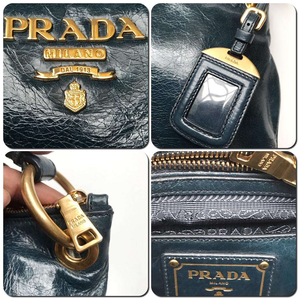 97f8017aff5e9b Prada Vitello Shine Denim Br 4894 Blue/Green Calfskin Leather Hobo ...