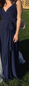Joanna August Tangled Up In Blue Chiffon Cindy Long Traditional Bridesmaid/Mob Dress Size 4 (S)