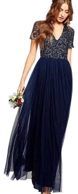 Preload https://img-static.tradesy.com/item/24373511/blue-tall-v-neck-maxi-with-tonal-delicate-sequins-long-formal-dress-size-10-m-0-1-650-650.jpg