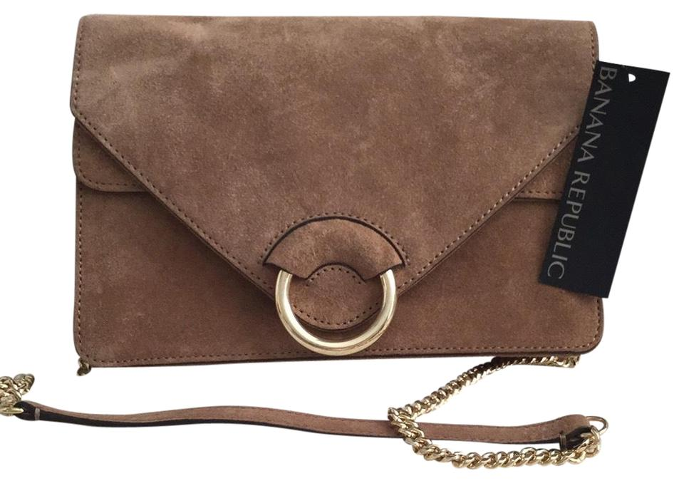 2893610ccfcd0 Banana Republic With Gold Accents Taupe Suede Italian Leather Clutch ...