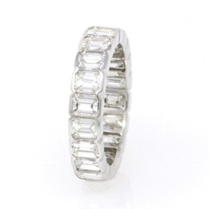 White 14k Gold Emerald-cut Eternity (4.69 Ct) Size 6.5 Ring