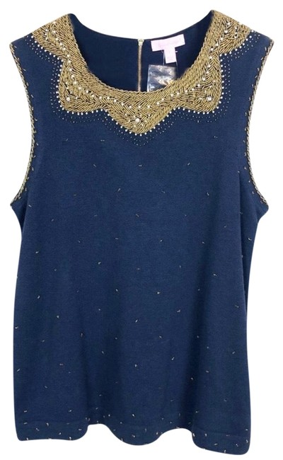 Preload https://img-static.tradesy.com/item/24373536/lilly-pulitzer-navy-kate-beaded-sweater-in-true-tank-topcami-size-12-l-0-1-650-650.jpg