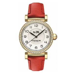 Coach COACH GOLD-TONE GLITZ CASE RED LEATHER WOMEN'S WATCH