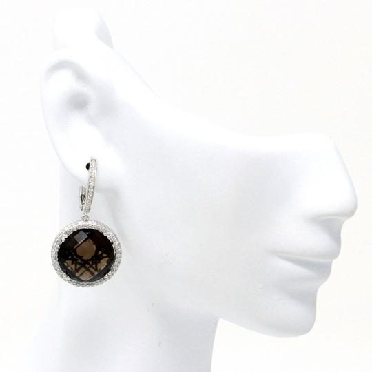stacytalan 14k White gold Smoky Topaz Halo Earrings (17.82 ct) Image 1