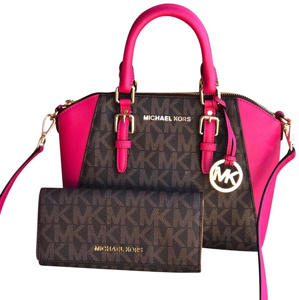 2381400c1f7 Michael Kors Crossbody Medium Ciara with Wallet Set Brown/ Ultra Pink  Leather Tote 41% off retail