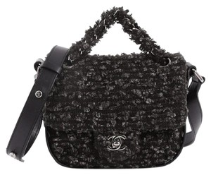 Chanel Tweed black and gray Messenger Bag