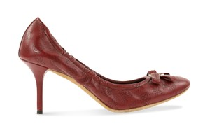 Louis Vuitton Perforated Leather Monogram Ballerina Red Pumps