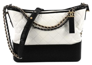 e6469752dd83 Chanel Gabrielle Hobo Quilted Aged Medium White Calfskin Leather Hobo Bag