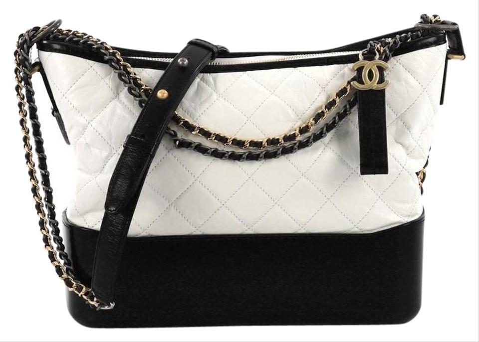 6eede00429ff6f Chanel Gabrielle Quilted Aged Medium White Calfskin Leather Hobo Bag ...